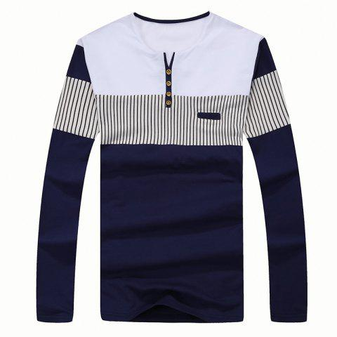 Chic Men's Fashion Stripes Hit Color Long-Sleeved Slim T-Shirt