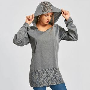 Women's Long Sleeve Irregular Hem Lace Splice Hooded Dress -