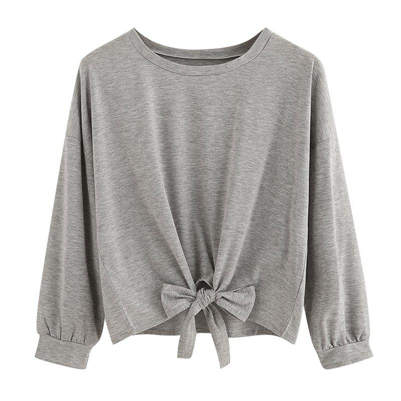 Womens Fashion Round Neck Long-Sleeved T-ShirtWOMEN<br><br>Size: S; Color: GRAY;