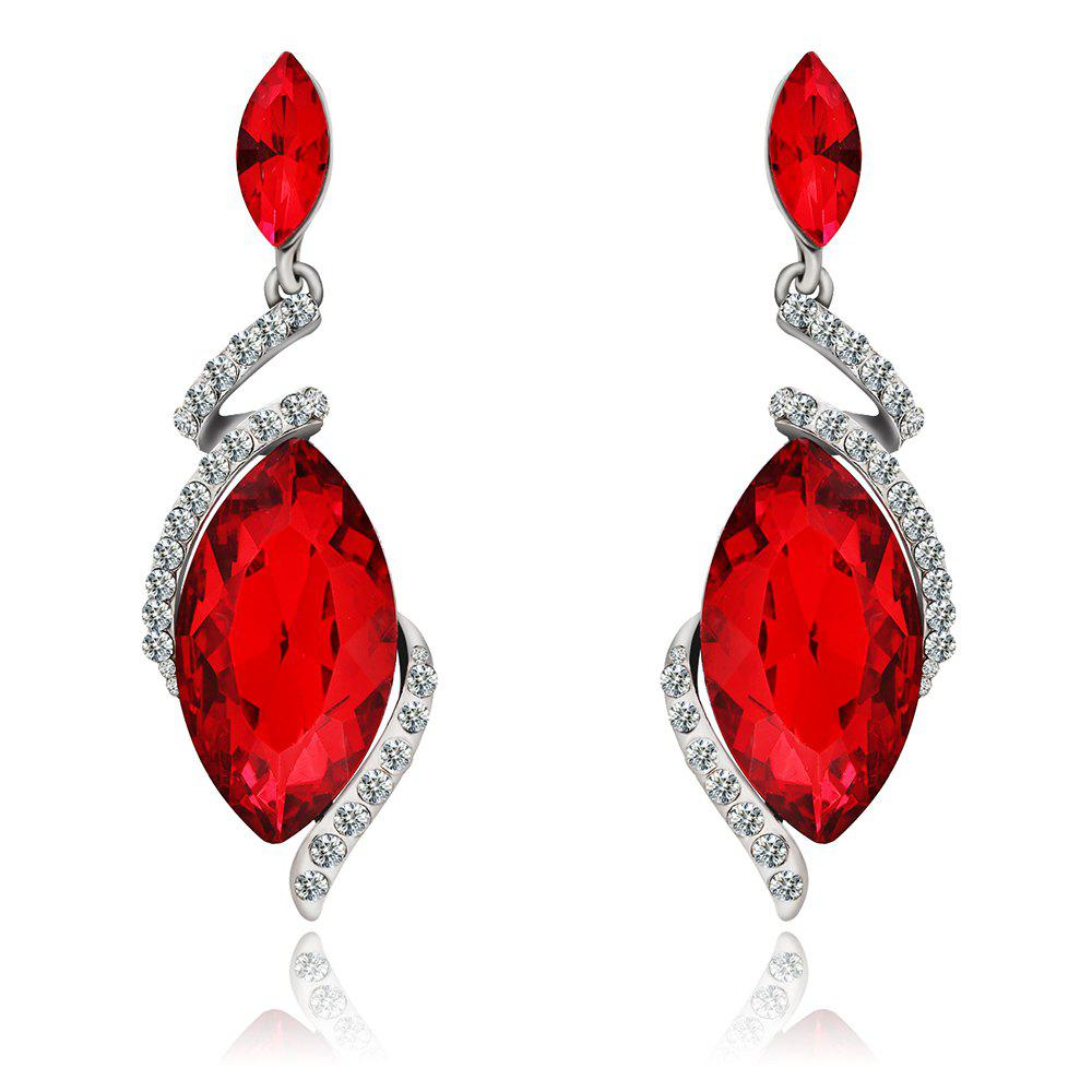Fashion Graceful Luxury Women Long Pendant Earrings with DiamodJEWELRY<br><br>Color: RED;