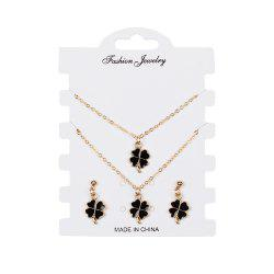 Creative Lucky Clover Combo Set Bracelet Earrings Necklaces Jewelry -