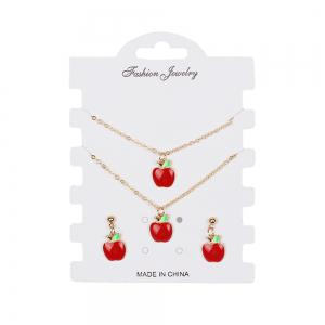 Creative Models Small Red Apple Set Bracelet Earrings Necklaces Jewelry -