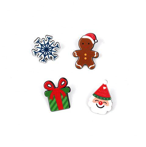 Série de Noël Cute Cartoon Drop Oil Modeling broche cadeau poupée flocon de neige ensemble