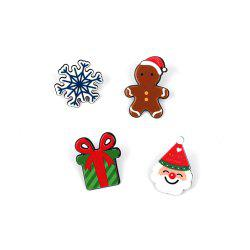Christmas Series Cute Cartoon Drop Oil Modeling Brooch Gift Doll Snowflake Set -