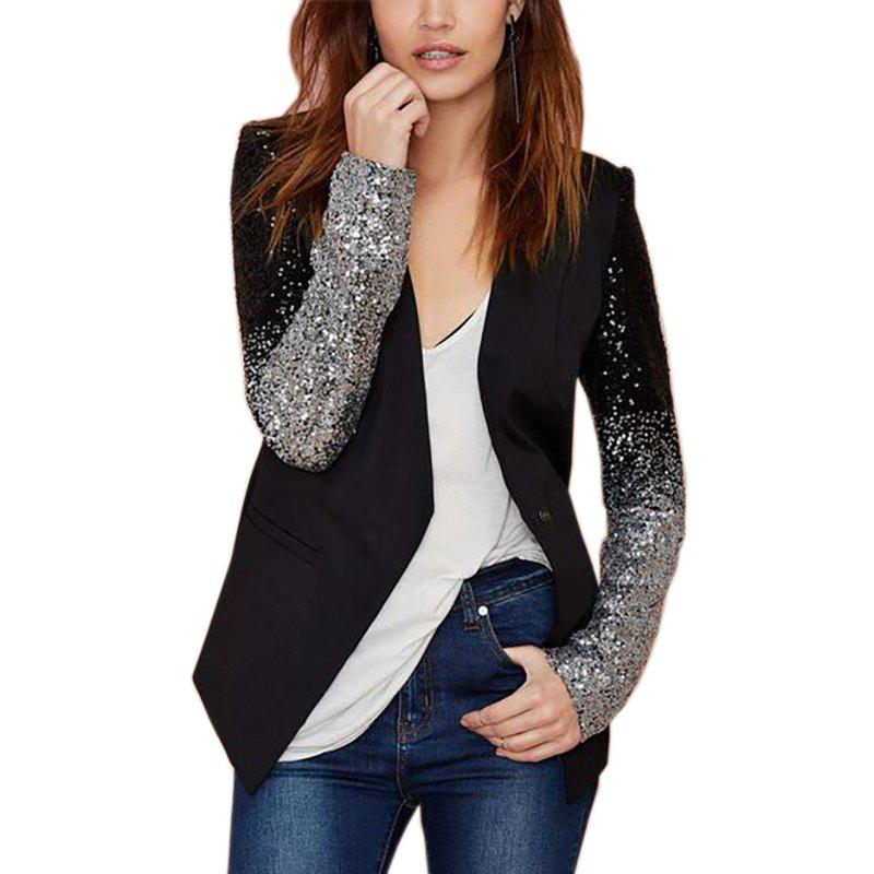 Cheap Black Blazer Women Casual Jacket Sequin Long Sleeve Spring Women Coat