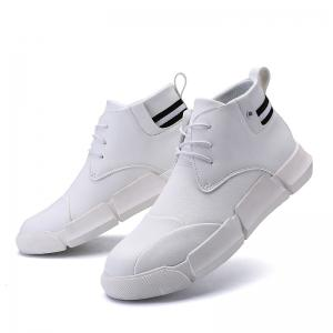 Men Casual Fashion Outdoor Leather Rubber Lace Up Solid Shoes -