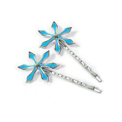Hair Band Accessories Cosplay Blue Flower Clip Barrette Decoration -