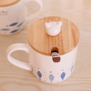 400ML Cute Cat and Fish Cartoon Ceramic Cup -