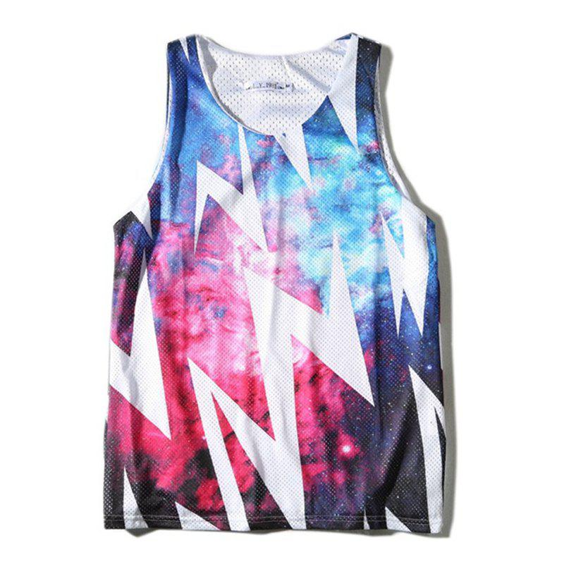 Fashion Men's Double Mesh Digital Print Star Lightning Tank Top