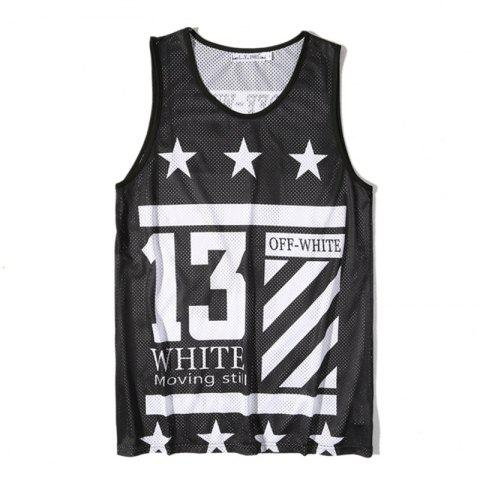 New Men's Digital Print Sports Single-layer Tank Top