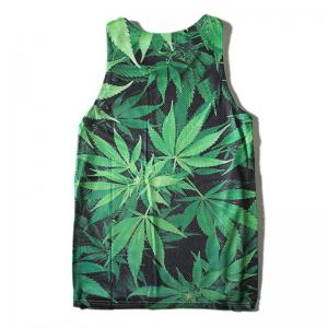 Men's Leaf Printed Sports Tank Top -