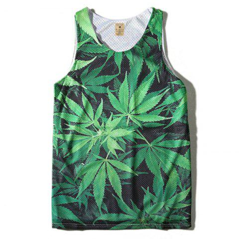 Shops Men's Leaf Printed Sports Tank Top