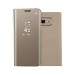 PU Leather Smart Clear View Flip Cover with Kickstand for Samsung Galaxy A3 2017 -