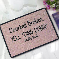 Creative Yell Ding Dong Pattern Antiskid Floor Mat - Brown