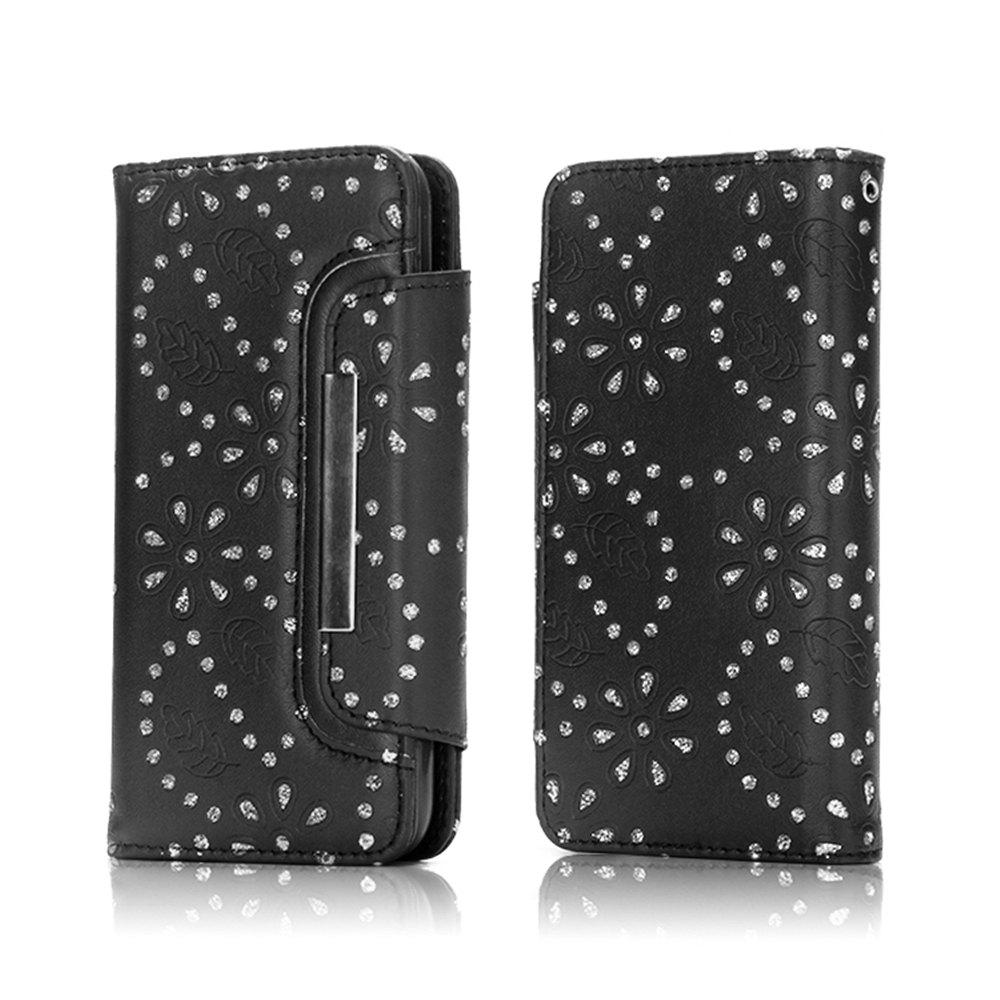 Chic 2 in 1 Magnetic Detachable Glitter Pigment Phone Case with Credit Card Holder Built-in Card Slots for Samsung Galaxy S8 Plus