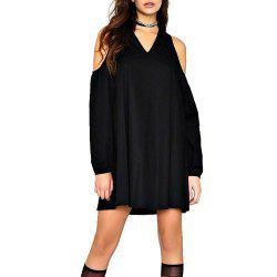 Femmes A Line Dress V Neck Off épaule Casual Plus taille robe -