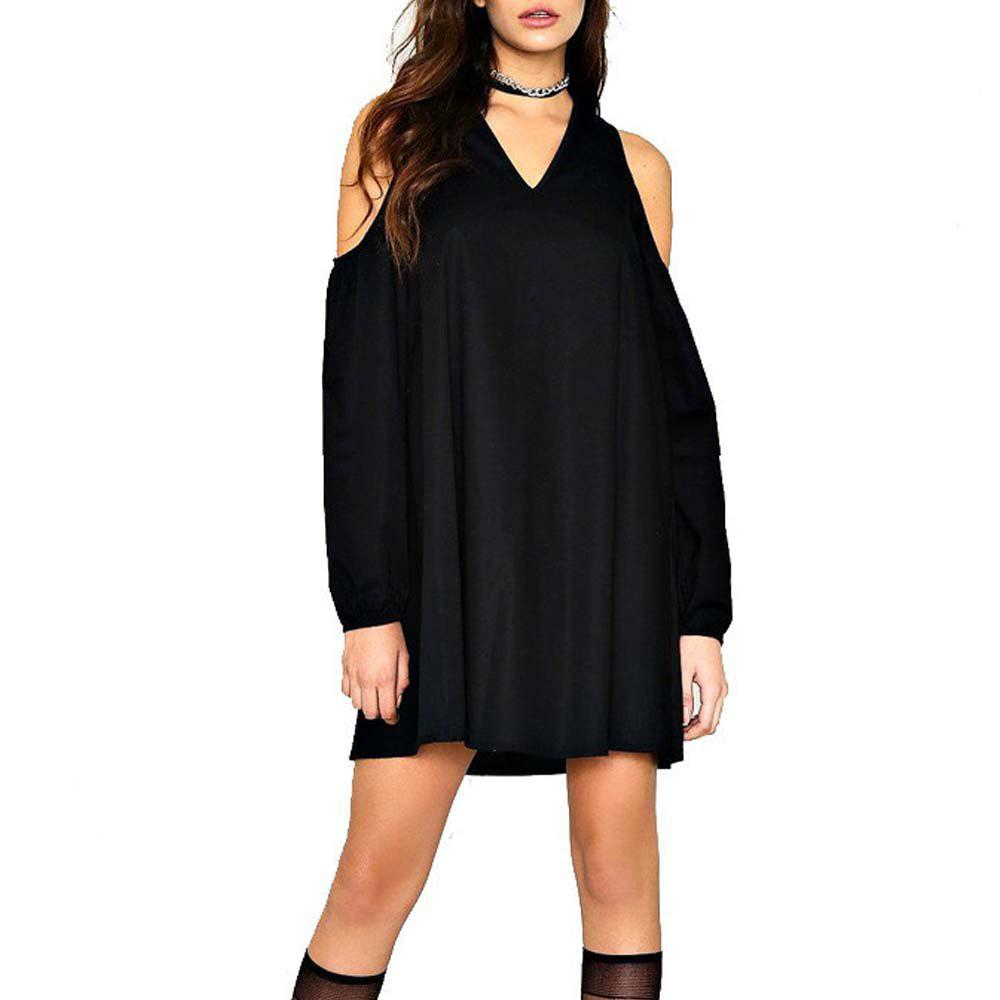 Femmes A Line Dress V Neck Off épaule Casual Plus taille robe