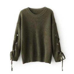 Female Band Long Sleeved Turtleneck Sweater Loose Solid -