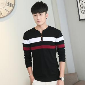 Men's Fashion Stripes Hit Color Long-Sleeved T-Shirt -