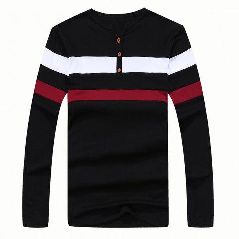 Outfit Men's Fashion Stripes Hit Color Long-Sleeved T-Shirt