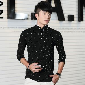 Men's Fashion Printing Stand Collar Slim Long-Sleeved T-Shirt -