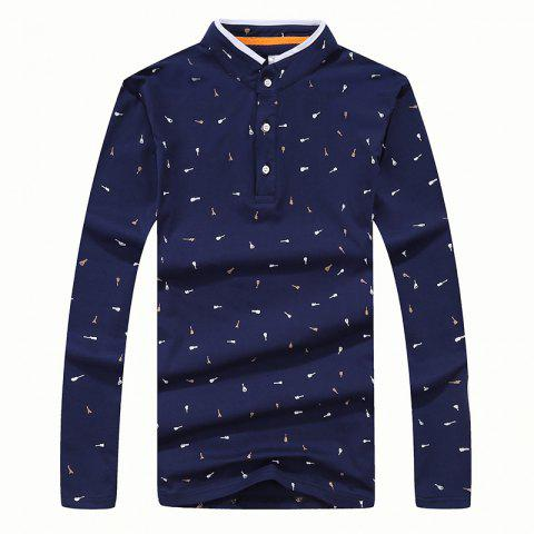 Outfit Men's Fashion Printing Stand Collar Slim Long-Sleeved T-Shirt