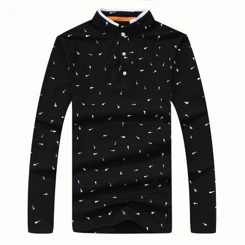 Hot Men's Fashion Printing Stand Collar Slim Long-Sleeved T-Shirt