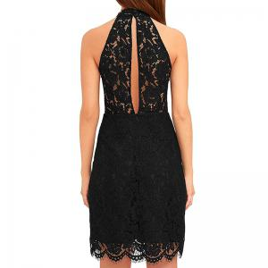 Ladies Lace Up Neck Sexy Dew Hip Draw In Mini Dress -