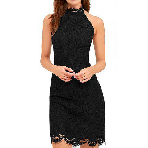 Fashion Ladies Lace Up Neck Sexy Dew Hip Draw In Mini Dress