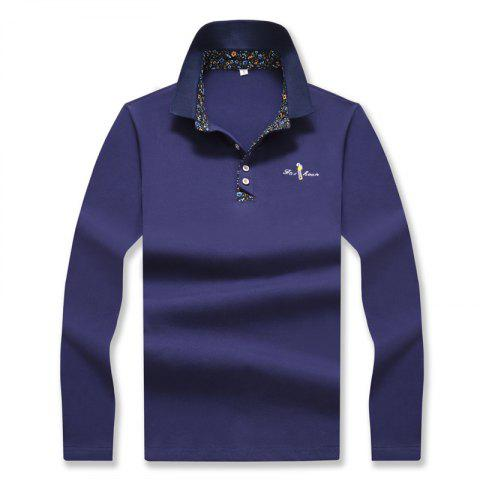 Outfit Men's Fashion Embroidery Slim Long-Sleeved Polo Shirt
