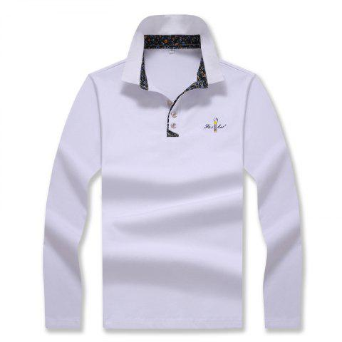 Shop Men's Fashion Embroidery Slim Long-Sleeved Polo Shirt