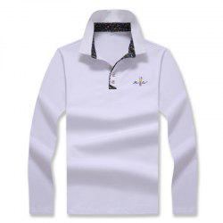Men's Fashion Embroidery Slim Long-Sleeved Polo Shirt -