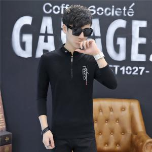 Men'S Fashion Printed Slim Long-Sleeved Personalized Zipper T-Shirt -