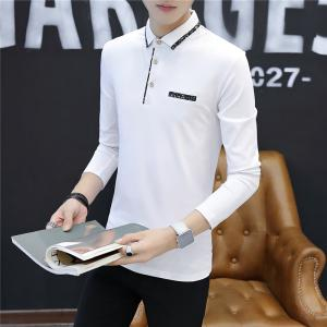 Men's Stylish Floral Slim Long-Sleeved Personality Polo Shirt -