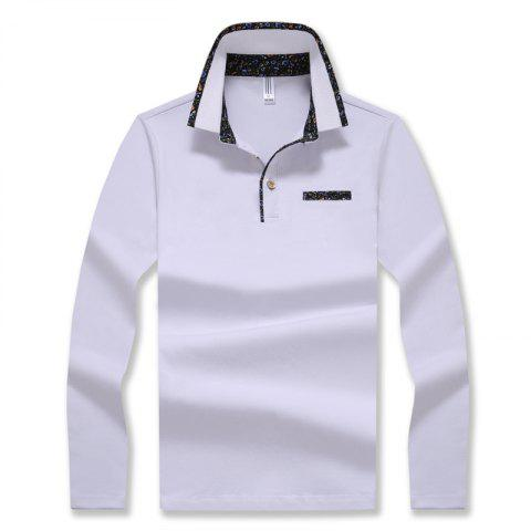 Shops Men's Stylish Floral Slim Long-Sleeved Personality Polo Shirt