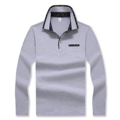 Outfits Men's Stylish Floral Slim Long-Sleeved Personality Polo Shirt