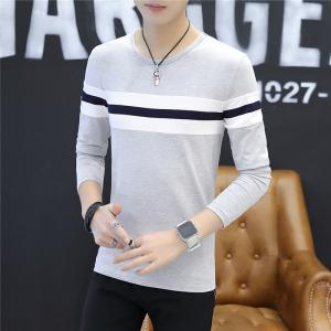 Men's Fashion Hit Color Stripes Slim Long-Sleeved T-Shirt -