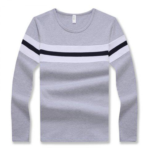 New Men's Fashion Hit Color Stripes Slim Long-Sleeved T-Shirt