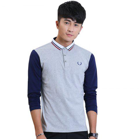 Online Men'S Fashion Embroidery Long-Sleeved Slim Polo Shirt