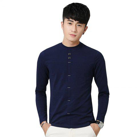 Discount Men's Fashion Personality Button Slim Long-Sleeved T-Shirt