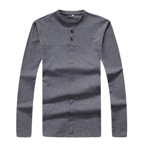 Outfits Men's Fashion Personality Button Slim Long-Sleeved T-Shirt