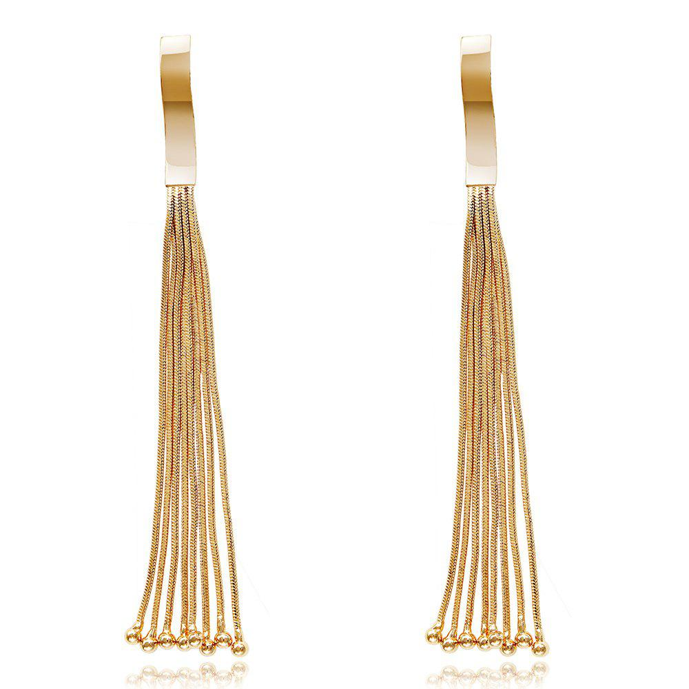 Fashion Design Personality Graceful Long  Chains Tassel Little Balls Drop Earrings Charm JewelryJEWELRY<br><br>Color: GOLDEN;