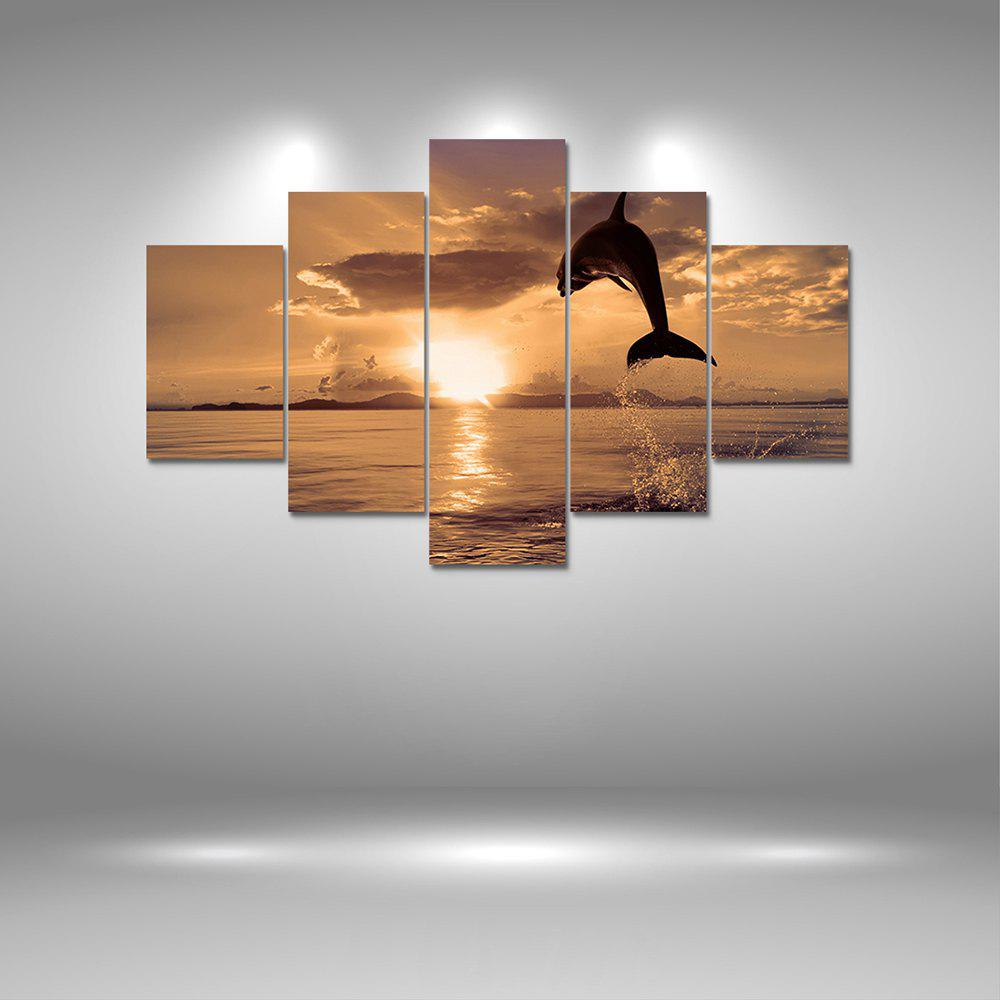 Jumping Dolphin Canvas Print Painting Home Decoration Wall Art Picture 5PCSHOME<br><br>Color: COLORMIX; Material: Canvas; Shape: Vertical Panoramic; Craft: Print; Form: Five Panels; Painting: Without Inner Frame; Subjects: Landscape; Style: Others; Suitable Space: Bedroom,Dining Room,Kids Room,Living Room,Office,Study Room / Office;