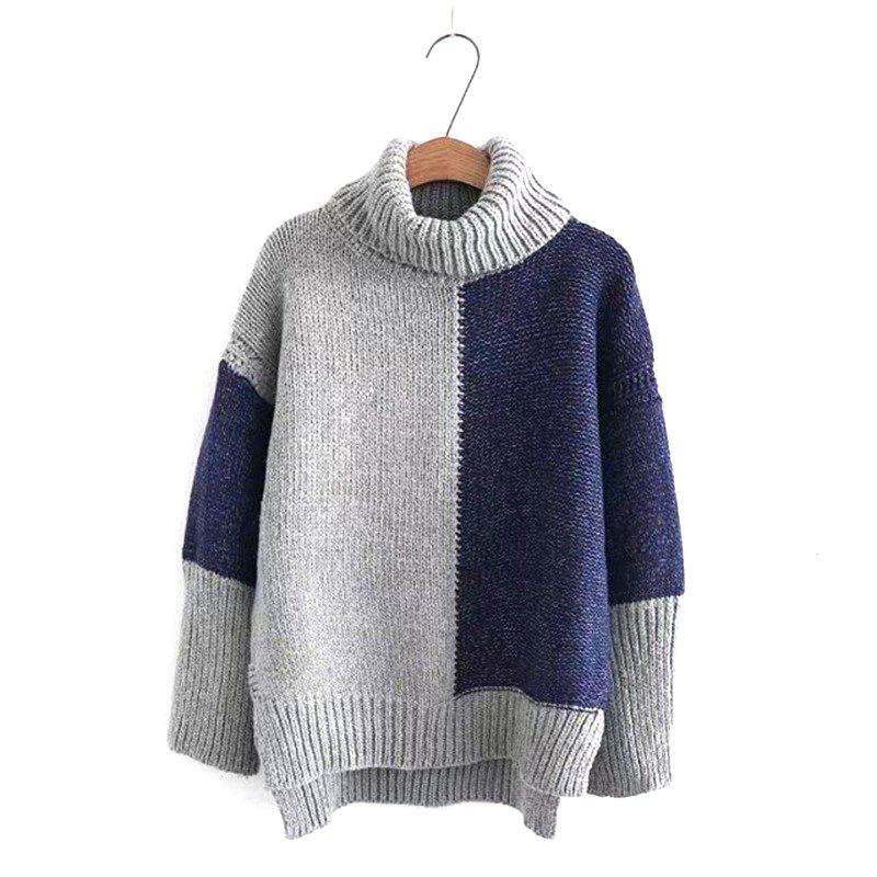 Affordable New Woman Knitting Splicing High Collared Sweater