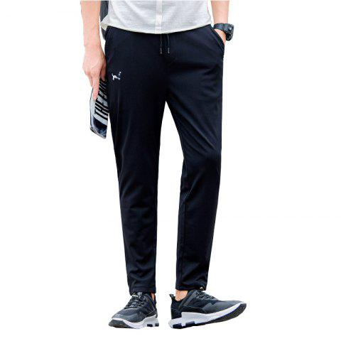 Trendy Men's Character Embroidered Black Sweatpants