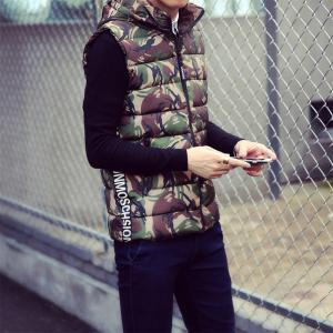 Lover's Style Trend Camouflage Pattern Hooded Waistcoat Vest -