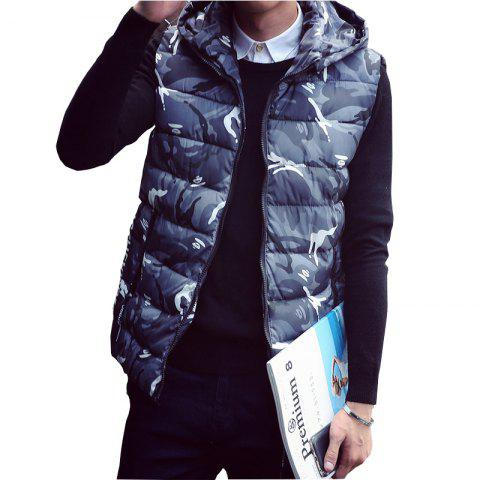Unique Lover's Style Trend Camouflage Pattern Hooded Waistcoat Vest