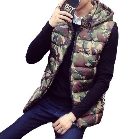 Trendy Lover's Style Trend Camouflage Pattern Hooded Waistcoat Vest