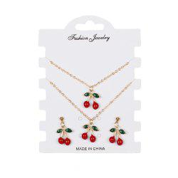 Creative Red Cherry Set Bracelet Boucles d'oreilles Colliers -