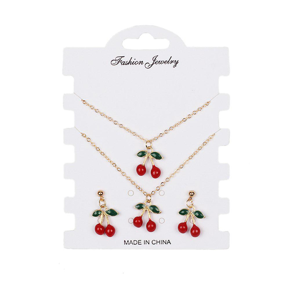 Creative Red Cherry Set Bracelet Boucles d'oreilles Colliers